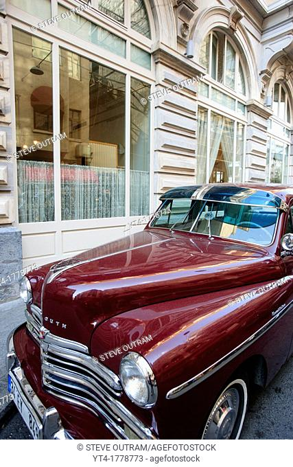 Classic Chrysler Plymouth Car for Airport pickup of clients Pera Palace Hotel, Istanbul