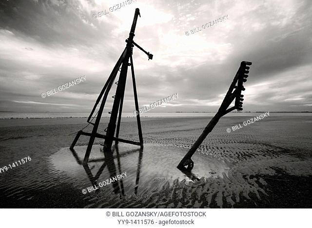 Mast of sunken ship at Jekyll Point B&W - Jekyll Island, Georgia USA