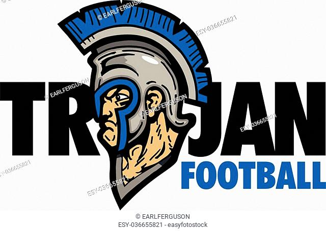 trojan football design with mascot and helmet