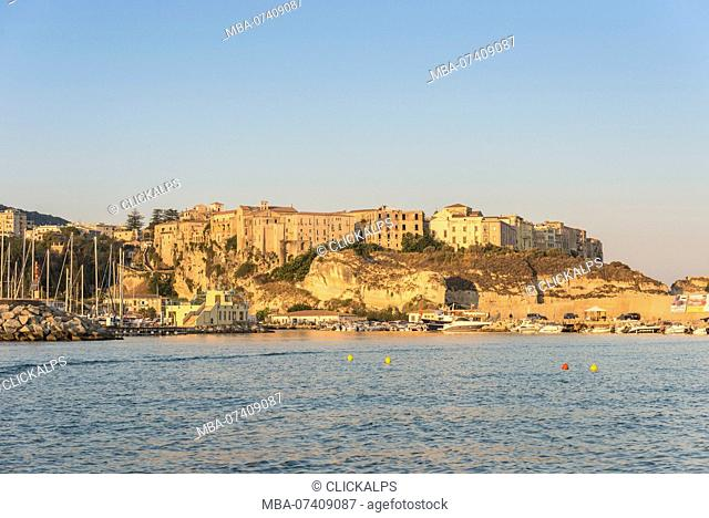 Tropea, Province of Vibo Valentia, Calabria, Italy. The small city of Tropea seen from the sea