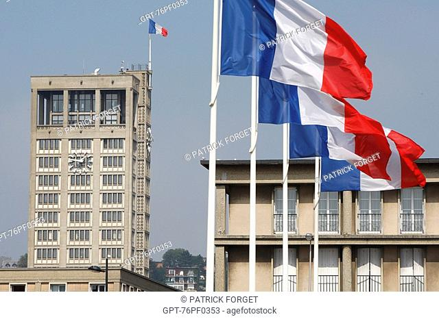FRENCH FLAG AND FACADE OF THE CITY HALL REBUILT BY THE ARCHITECT AUGUSTE PERRET, CITY CLASSED AS A WORLD HERITAGE SITE BY UNESCO, LE HAVRE, SEINE-MARITIME 76