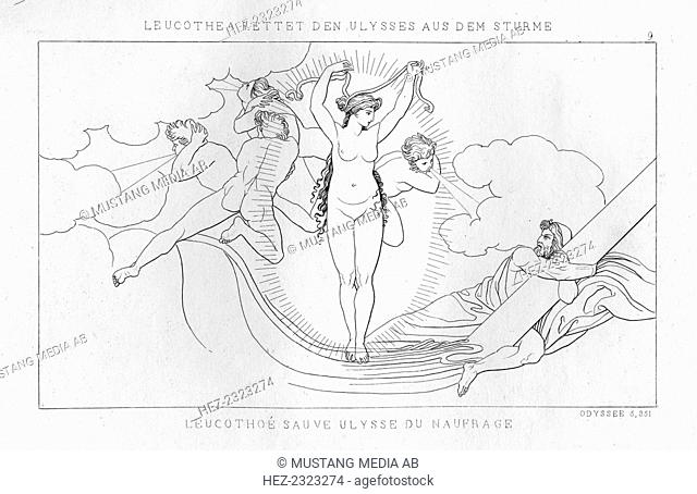 Leucothea, the sea deity, saves Odysseus in the storm, c1833. A scene from Homer's Odyssey