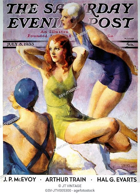 Three Women in Bathing Suits, Cover of Saturday Evening Post, circa 1933