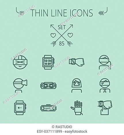 Technology thin line icon set for web and mobile. Set includes- smartwatch, virtual reality headset, wristwatch, robot hand icons