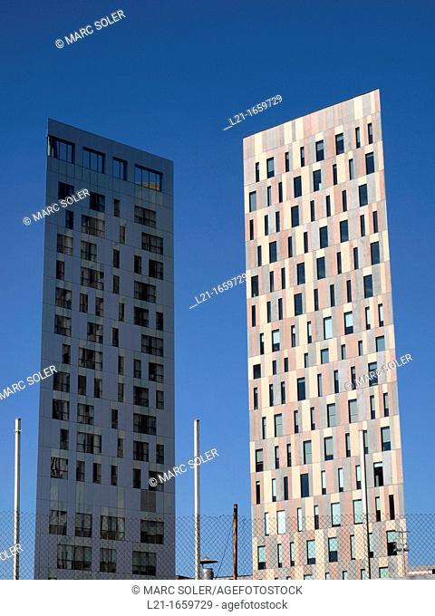 Modern buildings. Novotel Barcelona City Hotel on the left. @22 district, Barcelona, Catalonia, Spain