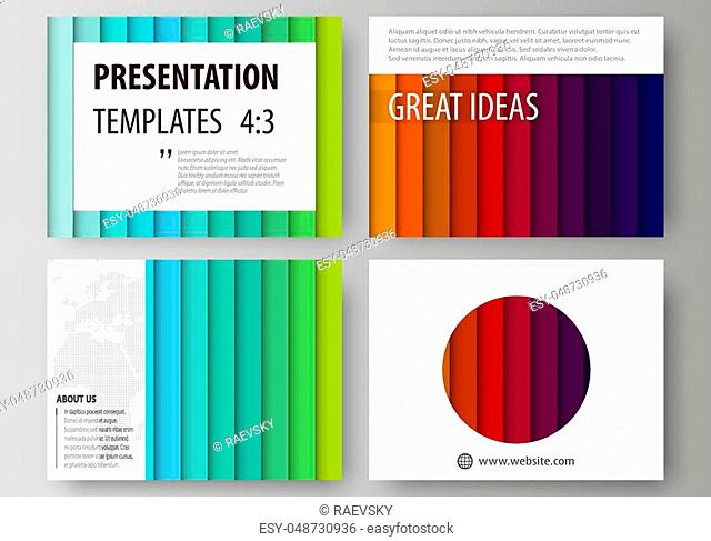 Set of business templates for presentation slides. Easy editable abstract layouts in flat design, vector illustration. Bright color rectangles