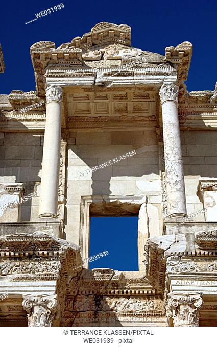 Exterior detail of the facade of the Celsus Library in the ruins of Ephesus, Turkey