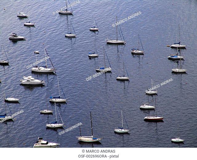 rio de janeiro rj aerial view of some boats on the marine bay