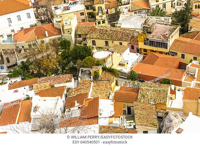 Orange Roofs White Buildinngs Ancient Greek Neighborhoods From Acropolis Athens Greece