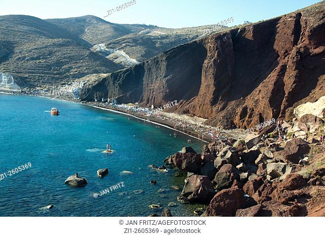 cliffs at red beach at santorini in greece