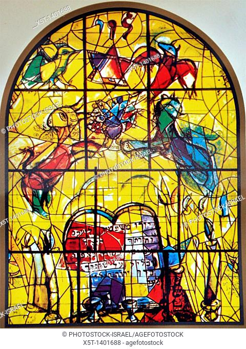 The Tribe of Levi  The Twelve Tribes of Israel depicted in stained glass By Marc Shagall 1887 - 1985  The Twelve Tribes are Reuben, Simeon, Levi, Judah