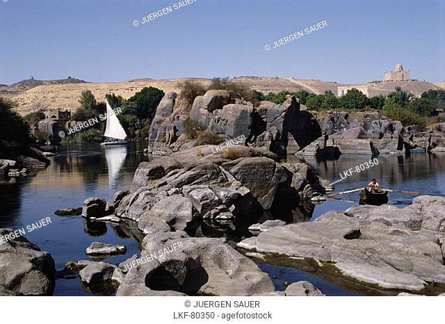 A felucca on the Nile, Aswan, Cataract landscape, Egypt, Africa