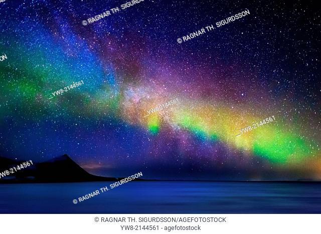 Milky Way Galaxy with Aurora Borealis or Northern lights,
