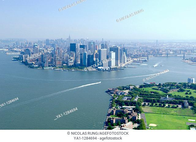 Aerial of Governors island and back South Manhattan, New York city, North America