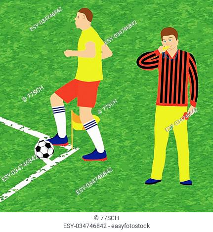 Football player and referee with whistle and red card. Soccer. Sport
