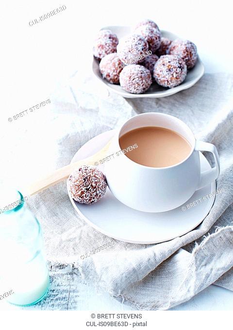 Coconut, cacao, cranberry balls