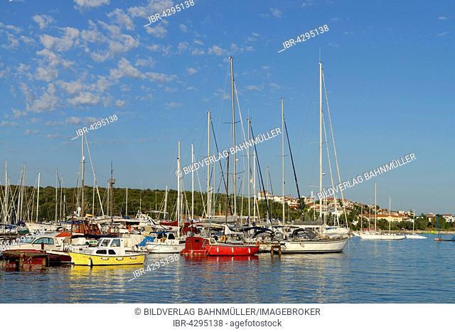 Sailing boats in Marina Veruda, yacht harbour, Pula behind, Istria, Croatia