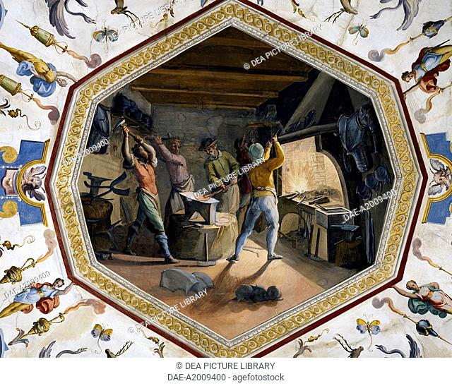 Inside the forge, tempera fresco, by Ludovico Buti (1560-1610). Vault of Room 23, Armory, Uffizi Palace, Florence. Italy, 16th century