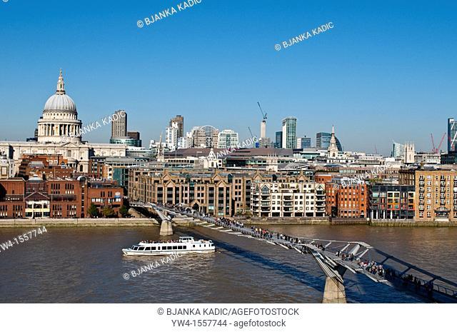 St Paul's Cathedral and Millennium bridge, London, UK