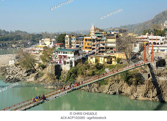 Lakshman Jhula, a bridge crossing the Ganges at Muni Ki Reti, near Rishikesh, Tehri Garhwal district, Uttarakhand, India