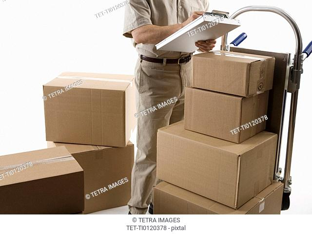 Delivery man with packages