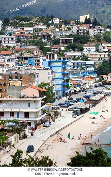 Albania, Albanian Riviera, Himara, elevated beach view