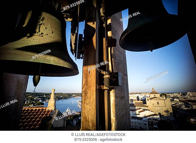 Bell tower of a church and the view of the city and port. Santa Maria, Mahon, Baleares, Spain, Europe