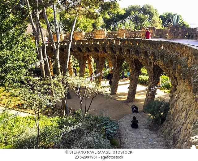 Stone Columns Supporting a Pathway in Park Guell - Barcelona, Catalonia, Spain