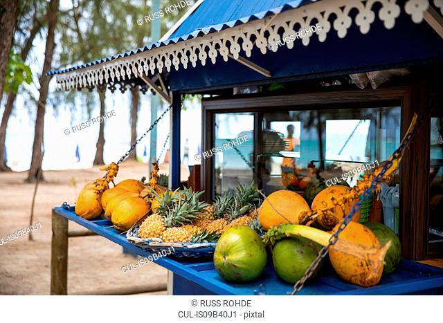 Market fruit stall, Mont Choisy Beach, Mauritius