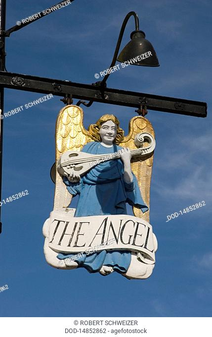England, Suffolk, Long Melford, Lavenham, The Angel sign