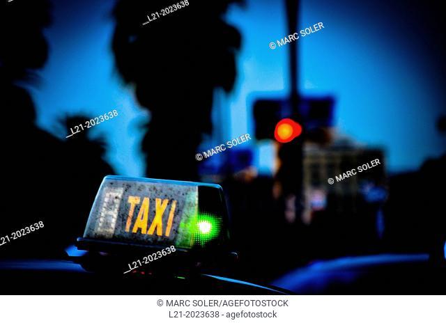 Taxi. Barcelona, Catalonia, Spain