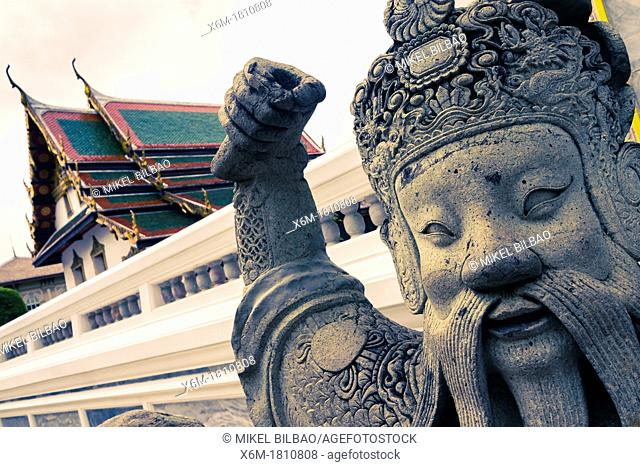 Stone giant  Wat Phra Kaew or Temple of the Emerald Buddha  Grand Palace  Bangkok, Thailand