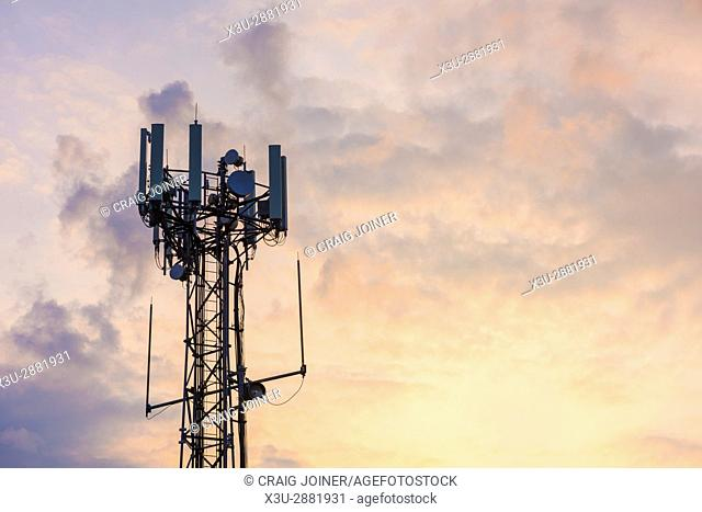 A mobile (or cellular) phone base transceiver station antenna array at Aust, Gloucestershire, England