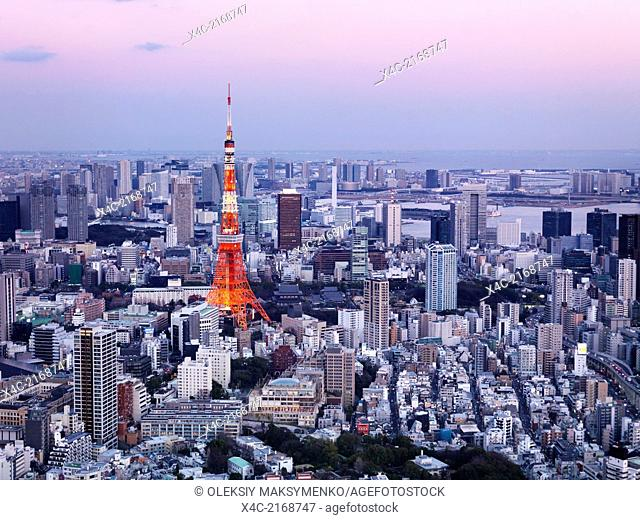 Bright red Tokyo Tower in city landscape aerial view, artistic twilight photo. Tokyo, Japan
