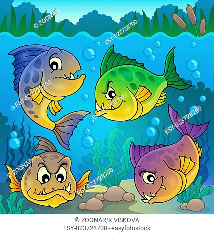 Four piranha fishes underwater - picture illustration