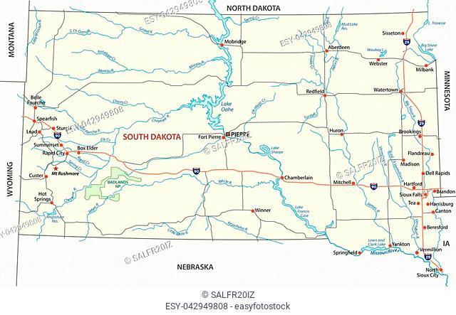 south dakota road vector map