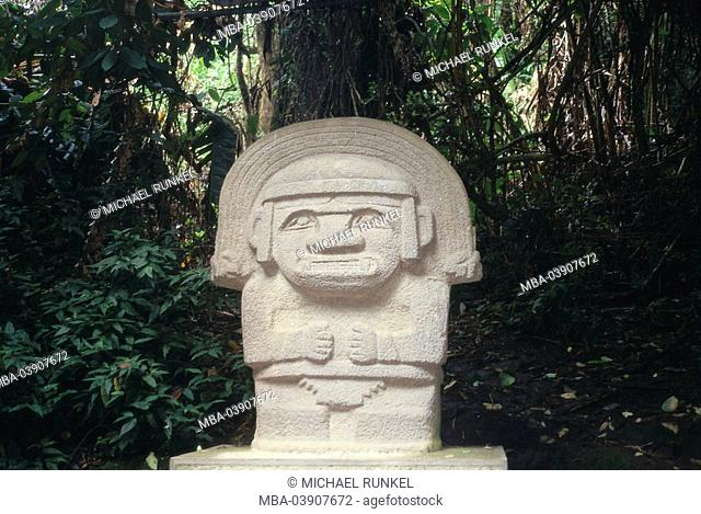 Colombia, San Augustin, forest-edge, statue of gods, South America, Andesit-sculpture, sculpture, statue, stone-statue, sight, symbol, history, historically
