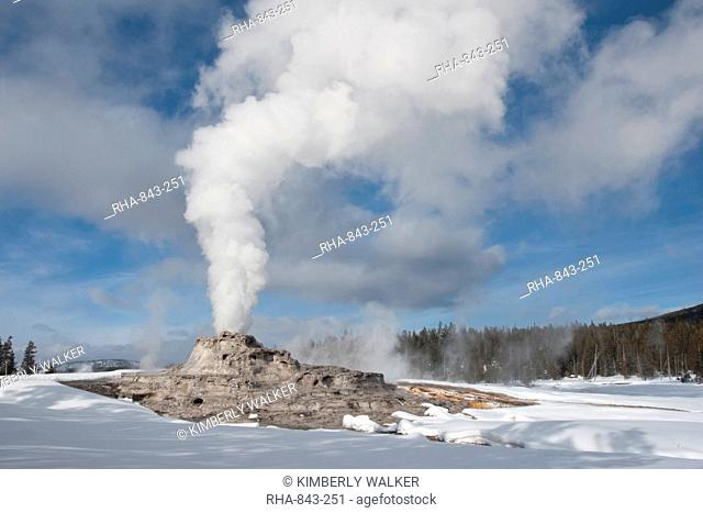 Castle Geyser erupting in winter landscape, Yellowstone National Park, UNESCO World Heritage Site, Wyoming, United States of America, North America