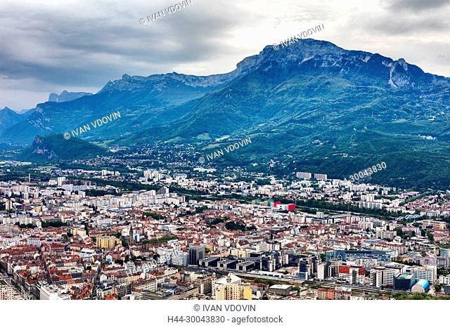 View from la Bastille, Grenoble, Rhone-Alpes region, department of Isere, France
