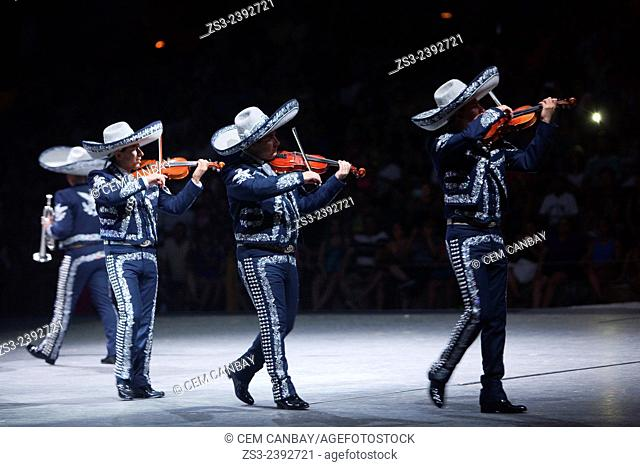 "Mariachi musicians during a performance at """"Mexico Espectacular"""" show, Xcaret, Playa del Carmen, Riviera Maya, Yucatan, Mexico, Central America"