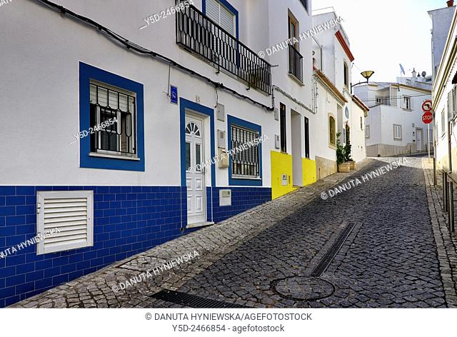 Europe, Portugal, Algarve, Western Algarve, Faro district, Lagos, old town street scene