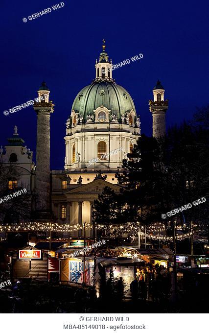 Austria, Vienna, Karlsplatz, Christmas market, Karlskirche