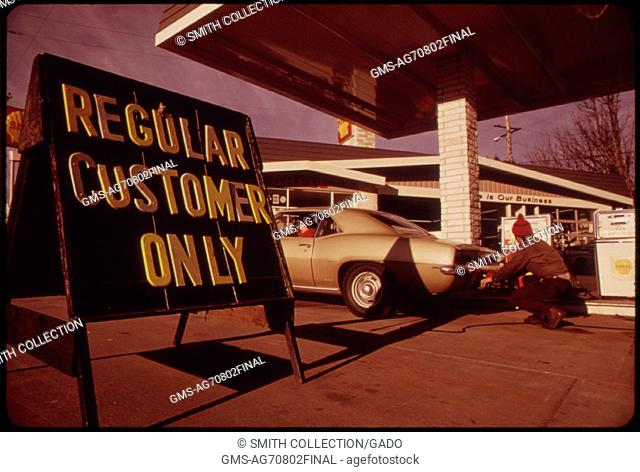 Prior to Oregon's Regulation of Gasoline Station Fuel Sales Some Dealers Attempted to Sell Only to Their Regular Customers This Driver in Portland Was a Normal...