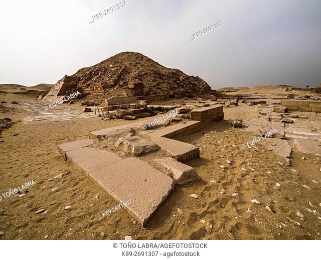 Pyramif of Unas. Archeological remains. Saqqara necropolis. Egypt