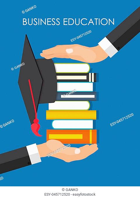 Helping Hand. Business Education Concept. Trends and innovation in education. Vector Illustration. EPS10