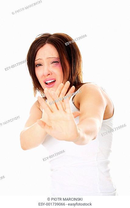 Sad abused mature caucasian woman