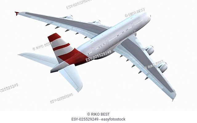 Modernes Passagierflugzeug im Flug - isoliert auf weißem Hintergrund