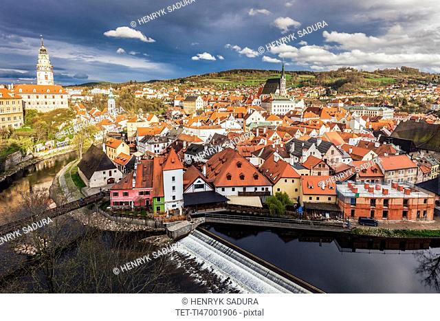 Czech Republic, South Bohemia, Cesky Krumlov, Clouds above town