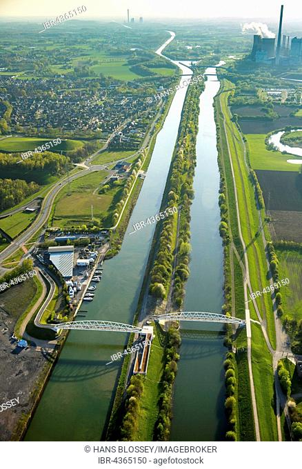 Aerial view, Lippepark Bridges and Datteln-Hamm Canal, Hamm, Ruhr district, North Rhine-Westphalia, Germany
