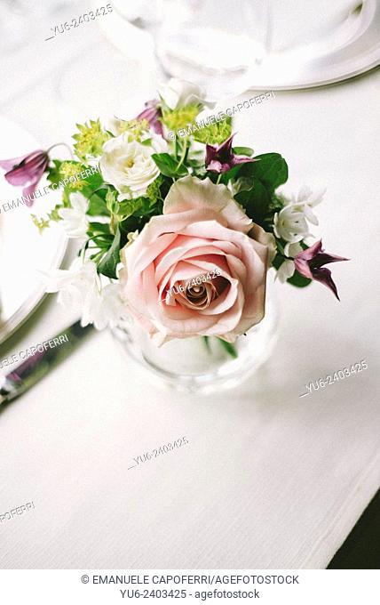 Vase with fresh flowers